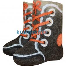 """Детские валенки """"Ботинки c оранжевыми шнурками"""""""